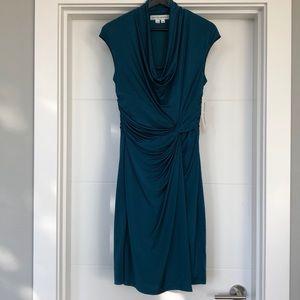 Maggy London Twist Faux Wrap Cowl Neck Dress NWT